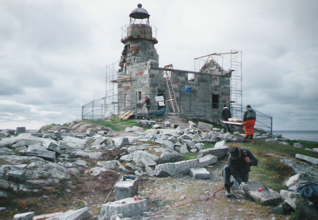 Lighthouse during restoration