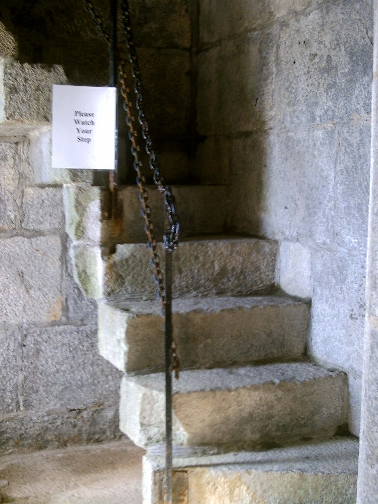 Part of the stone staircase that kept the tower from crumbling